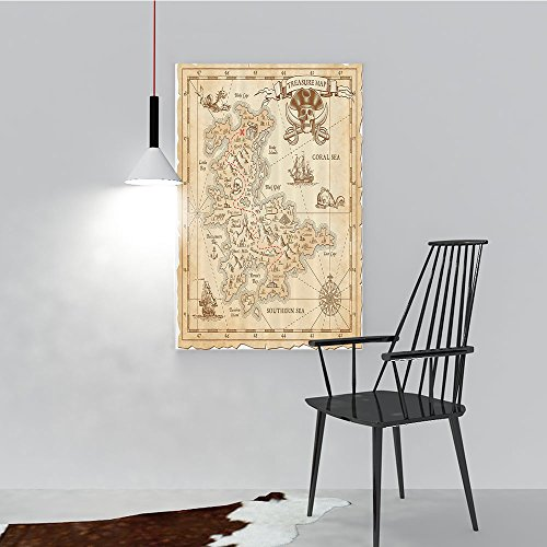 odern Wall Art Decor Frameless Old Ancient AnTreasure Map with Details Retro Color Adventure Sailing for Home Print Decor for Living Room W20 x H40 ()
