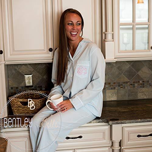 Women's Seersucker Loung Pant Set Monogram Pajamas by Bentley & Belle