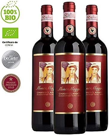 Chianti Classico di Montemaggio - Vino Tinto Seco Fino Orgánico de Italia - DOCG Toscana - Gallo Nero - Sangiovese/Merlot - Fattoria di Montemaggio - 0.75L - 3 Botellas