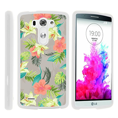 TurtleArmor | LG G3 Case | D850 | D855 | D851 | VS985 | LS990 [Slim Duo] Slim Snap On 2 Piece Hard Cover Protector Matte Unique Designs on White - Hawaiian Flowers