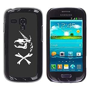 Be Good Phone Accessory // Dura Cáscara cubierta Protectora Caso Carcasa Funda de Protección para Samsung Galaxy S3 MINI NOT REGULAR! I8190 I8190N // Unicorn Bones Funny Grey Skull H