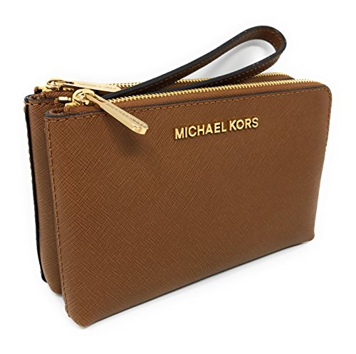 (Michael Kors Jet Set Travel Large Double Gusset Top Zip Saffiano Leather Wristlet)