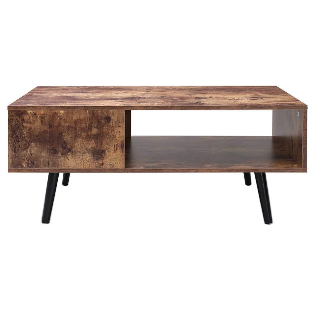 Usikey Mid-Century Modern Coffee Table for Living Room, Retro Rectangular Cocktail Table with Storage Shelf, TV Table, Sofa Table, Office Table, Accent Table, Easy Assembly, Rustic Brown by usikey