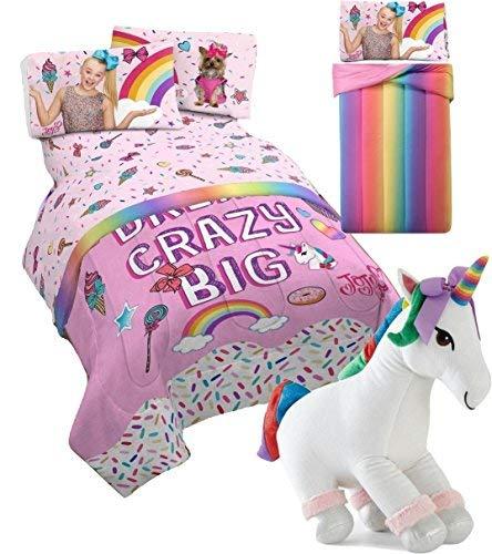 JOJO SIWA Girls FULL SIZE Comforter and Sheet set + SPARKLE UNICORN PILLOW! (Pink Comforter with Sparkle Unicorns and Rainbows Reversing to - Comforter Rainbow Stripes