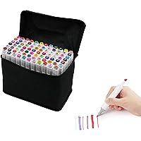 SilaiteWP 80 Colores Tips Dual Arte del Bosquejo Gemelas Rotuladores con Estuche de Transporte para Colorear Pintura de Resaltado y Subrayado
