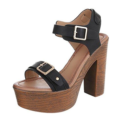 chaussures Design Noir femme Ital compensées xFqB1wH
