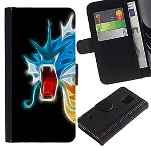 EJOY---Tirón de la caja Cartera de cuero con ranuras para tarjetas / Samsung Galaxy S5 V SM-G900 / --Flaming neón del dragón