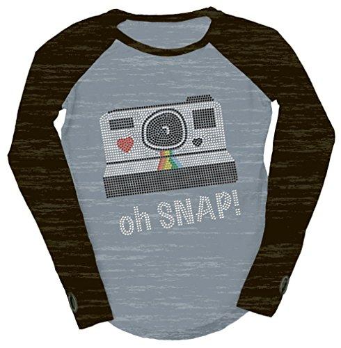 iscream Big Girls' Long Sleeve Baseball Shirt - Oh SNAP! Nailhead, Small