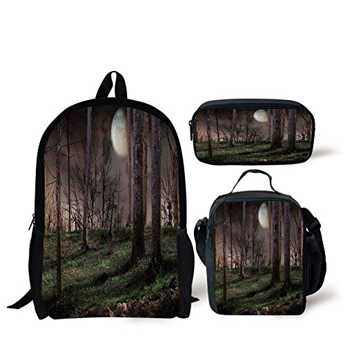 (School Lunch Pen Bags,Gothic,Dark Night in the Forest with Full Moon Horror Theme Grunge Style Halloween,Brown Green Yellow,Personalized)