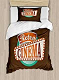 Ambesonne Movie Theater Twin Size Duvet Cover Set, Retro Style Cinema Sign Design Film Festival Hollywood Theme, Decorative 2 Piece Bedding Set with 1 Pillow Sham, Brown Turquoise Vermilion