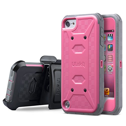 ULAK iPod Touch 6th Generation case with Screen Protector, Knox Armor Shockproof Dual Layer Belt Clip Holster Fullbody Protective Case Bumper Hard Cover for Apple iPod Touch 5/6th Generation-Rose Red