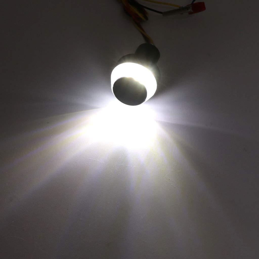 fxco 2pcs 12/V Moto Manubrio fine LED lampeggiante luce ambra giallo bianco moto Impugnatura Manubrio Presa laterale marcatore lampada accessorio