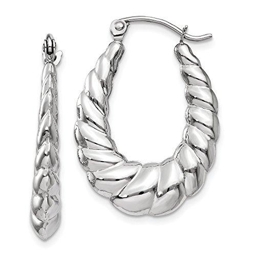 4mm x 26mm Polished 14k White Gold Twisted Oval Hoop Earrings (14k Shrimp)