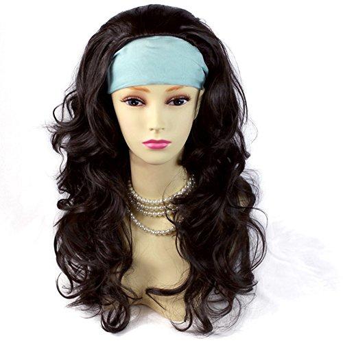 Dark Brown 3/4 Fall Hairpiece Long Wavy Layered Half Wig Hair Piece