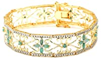 "18k Yellow Gold Plated Sterling Silver Emerald and Diamond Accent Bracelet, 7.25"" by Amazon Curated Collection"