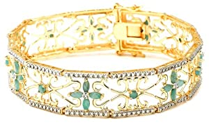 """18k Yellow Gold Plated Sterling Silver Emerald and Diamond Accent Bracelet, 7.25"""" by Amazon Curated Collection"""