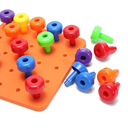 30PCS Fun Peg Board Set Montessori Therapy Fine Motor Toy for Toddlers Pegboard