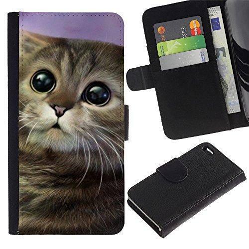 LASTONE PHONE CASE / Luxe Cuir Portefeuille Housse Fente pour Carte Coque Flip Étui de Protection pour Apple Iphone 4 / 4S / Art Cartoon Cat Longhair Drawing Mongrel