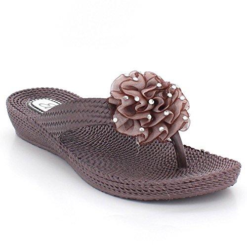 AARZ LONDON Women Ladies Toe-Post Casual Comfort Summer Lightweight Flat Slip-On Sandals Shoes Size Brown