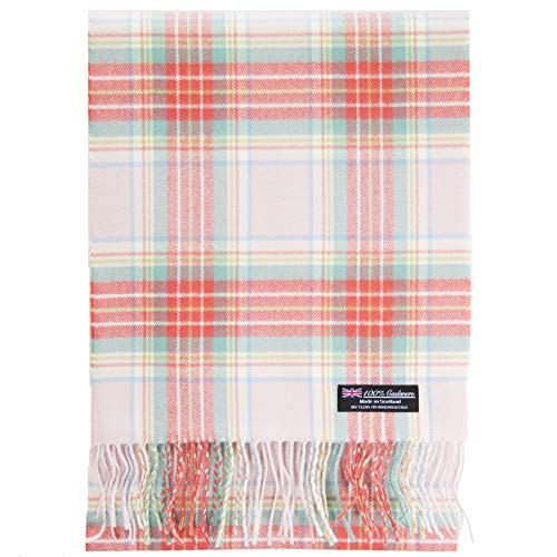 2 PLY 100% Cashmere Scarf Elegant Collection Made in Scotland Wool Solid Plaid (Pink Tartan ZS31)