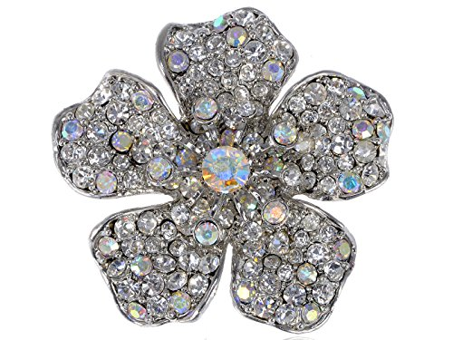 Alilang Womens Silvery Tone Iridescent Clear Rhinestones Floral Flower Brooch Pin