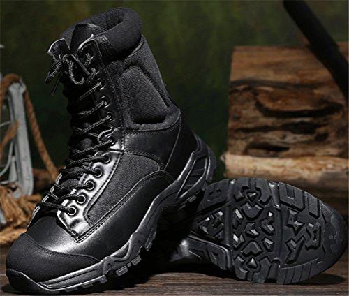 Aas Schokbestendige Laarzen Heren Winter, Katoen Gevoerde Militaire Schoenen Midden-kalf Veter Leger Bootie Maat 6-9 Zwart