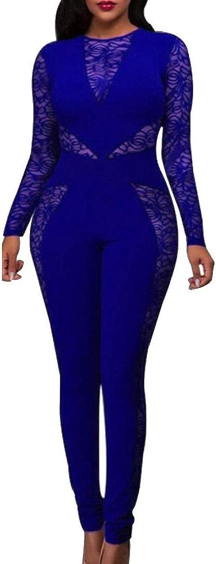Wofupowga Women Vogue Zip Up Backless Patchwork Crewneck Hollow Lace Bodysuit Jumpsuits