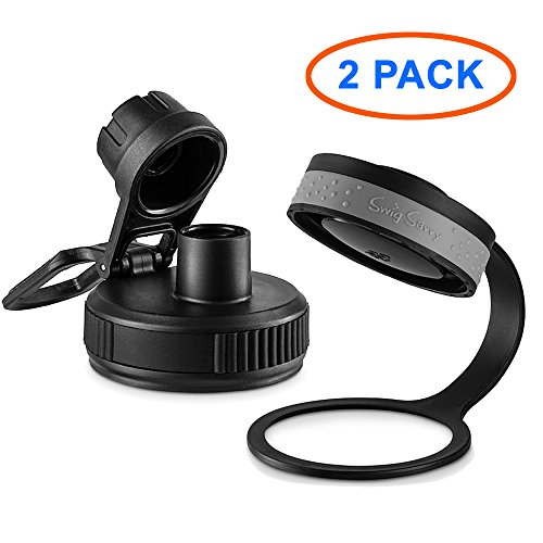 SWIG SAVVY Wide Mouth Sports Water Bottle Lid & Spout Cap - Easy Fit for Wide Mouth Flasks - 2 Pack (Sport Cap/Takey)