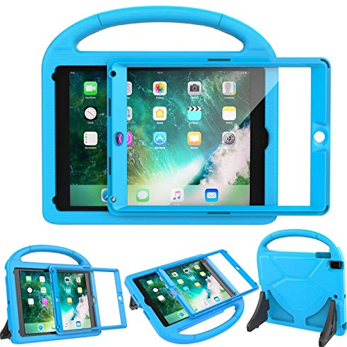 - LEDNICEKER Kids Case for New iPad 9.7 2018/2017 - Built-in Screen Protector Shockproof Handle Friendly Foldable Stand Kids Case for New iPad 9.7 2017/2018 (ipad 5&6) - Blue