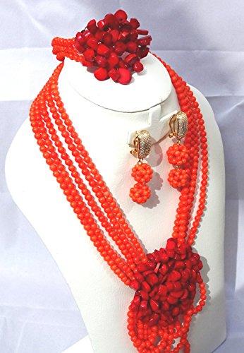 Nouveau design africain du Nigeria Collier de perles de mariage Ensembles de bijoux avec broche fleur fait main Perles de corail Ensemble de bijoux