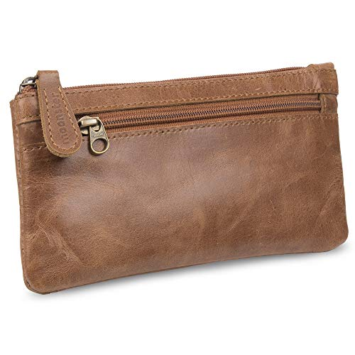 (Leather Pencil Case - Beautifully Handcrafted Zippered Pouch That's Made to Last - Elegant, Practical Pencil Cases for Adults and Students - Unique Design with Side Pocket and Keyring -)