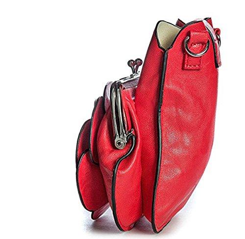 LeahWard® MINI Größe!!! Damen Mode Essener Blume Umhängetasche Qualität Kunstleder Bote Party Tasche Handtasche CWF003 CWF5348 SILVER Eule