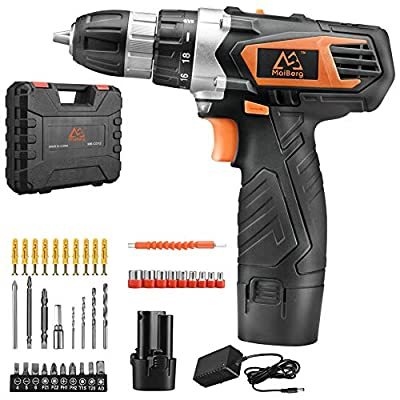 """Cordless Drill, Power Drill Driver 12V with 2x1.5Ah Batteries, Fast Charger 1.3A, 44Pcs Accessories, 18+1 Torque Setting, 2-Variable Speed Max Torque 200 In-lbs, 3/8"""" Keyless Chuck"""