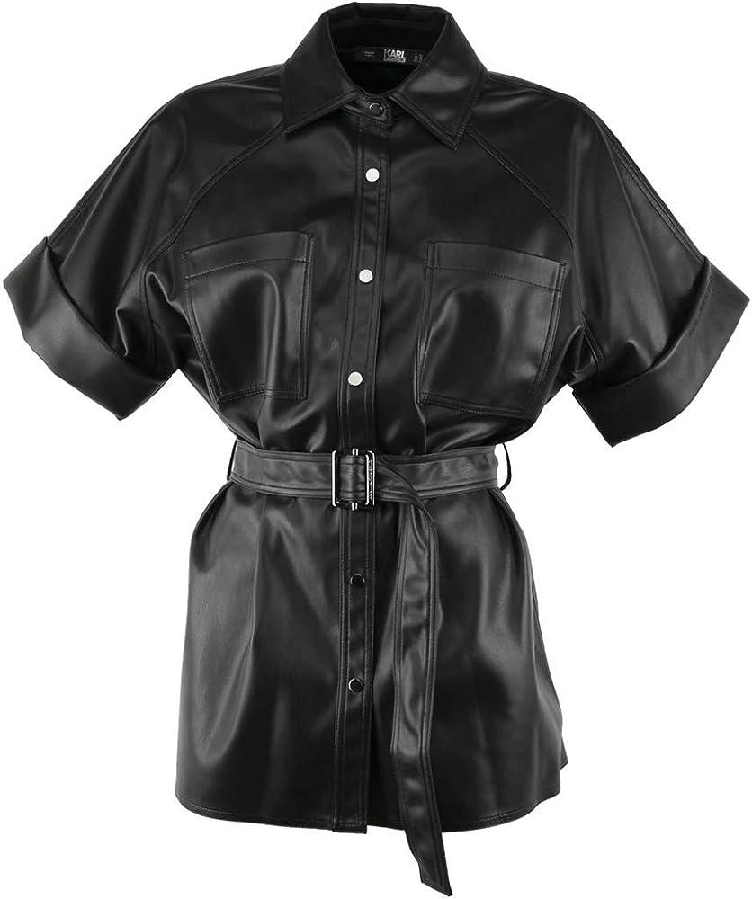 KARL LAGERFELD 205W1605 Camisa efecto piel negra con cinturón negro 40: Amazon.es: Ropa y accesorios