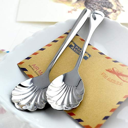 Scoop Shell (Soup Spoon - 2pcs Set Shell Shaped Stainless Steel Coffee Tea Spoon Sugar Honey Soup Spoons Ice Cream Scoop - Camping Plastic Server Pour And Disposable Thermos Design Green Strainer)