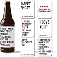 Naughty Valentines Day Beer Bottle Labels - 6 Weatherproof Dirty Decals as Beer Stickers for Him - Inappropriate V-Day Day Accessories & Gifts Printed on Polyester Stock in the USA by RitzyRose