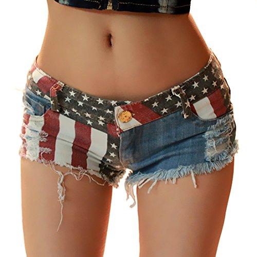KNUS Women Ripped Hole Jean Shorts Patriotic Low-Rise American Flag Print Columbus Day Daisy Duke Ripped Denim Shorts (XXL/US 16) -