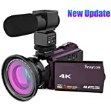 4K Video Camcorder, Rraycom 48MP WiFi Camcorders Ultra-HD Portable Digital Video Camera Recorder 3 inch Touch Screen with External Microphone and Wide Angle Lens