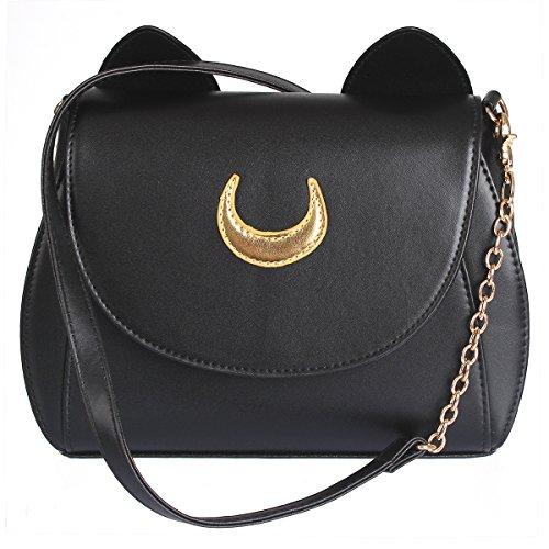 AKStore Women Handbag Cosplay Sailor Moon 20th Tsukino Usagi PU Leather Girls Handbag Shoulder Bags (Black)