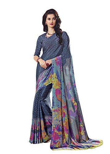 Jaanvi fashion Women's Crepe Printed Saree (Blue)