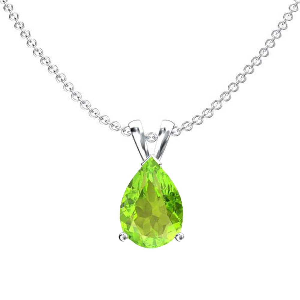 14K White Gold 8x6 mm Pear Cut Peridot Ladies Solitaire Pendant (Silver Chain Included)
