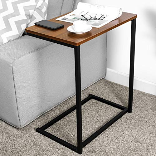 Homemaxs C Table Sofa Side End Table Wood Finish Steel Construction Easy Assembly 26-Inch for Small Space ()