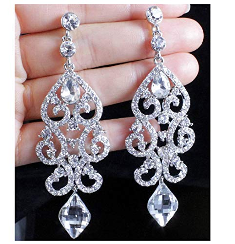 Janefashions Large Sexy Austrian Crystal Rhinestone Chandelier Dangle Earrings Bridal E2084 Blue or White (White)