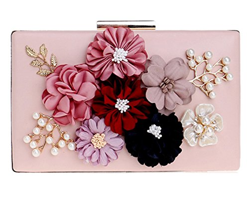 Women Flower Clutches Handbags Designer Evening Bags Prom Party Wedding Cocktail Purses with Pearls Beaded Pink