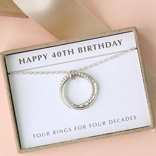 Amazon 40th Birthday Necklace 4 Rings Decades