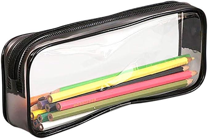 LjQQjDz - Estuche de PVC Transparente con Cremallera para lápices, papelería, Bolsa de Almacenamiento, Organizador de Oficina, Monedas, cosméticos, para la Escuela, Suministros de Oficina, PVC, Negro: Amazon.es: Hogar