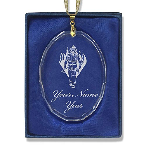 Oval Crystal Christmas Ornament - Fireman - Personalized Engraving Included