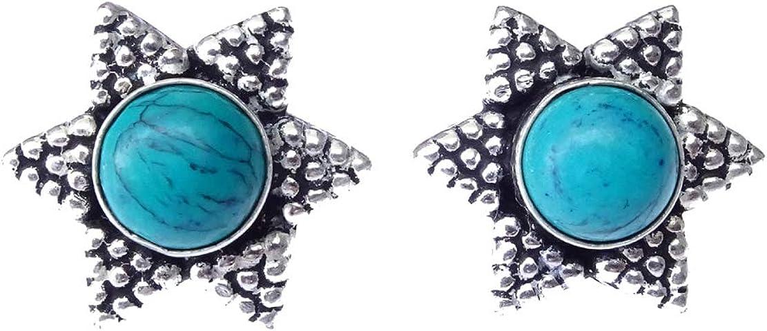 Forma de estrella Turquesa Gemstone Pendiente de oreja hecho a mano auténtico Pendientes de filigrana plateados de moda para mujeres Niñas Pendientes étnicos Boho Pendientes