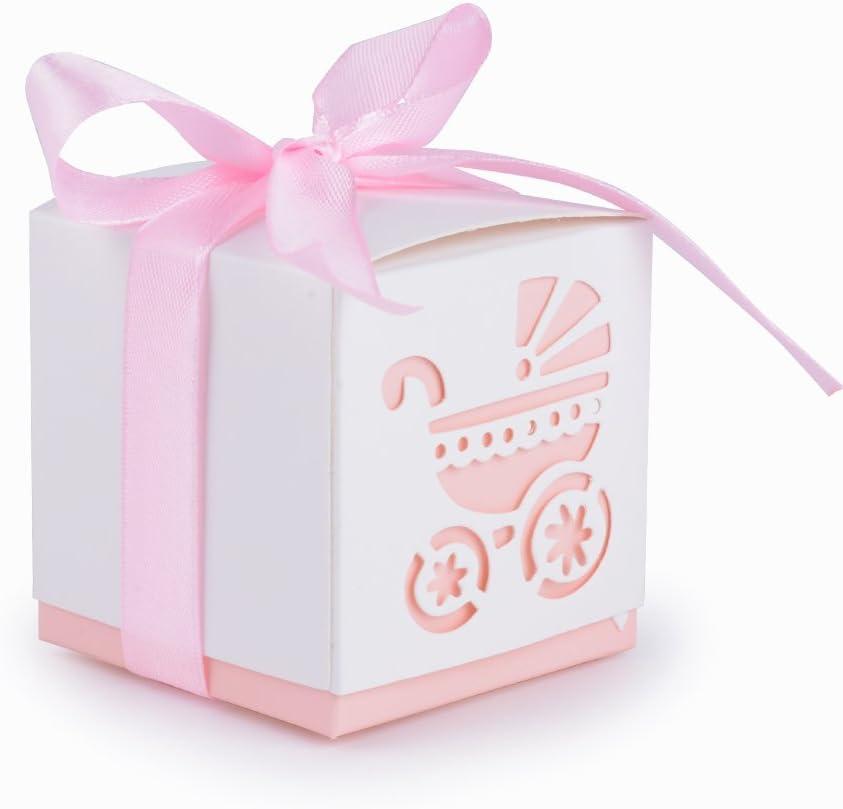 AONER 50Pcs Cajas Papel Bautizo Regalo Boda Bombones Detalles para Invitados Fiesta Comunion Cumpleaños con Cintas Forma Cochecito Rosa