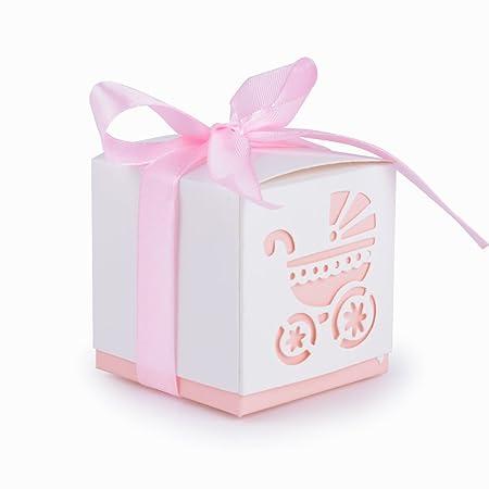 50Pcs Cajas de Papel de Bombones Regalos Detalles para Invitados de Boda, Fiesta, Comunion o Bautizo, Cumpleaños con Cintas (Cochecito- Rosa)